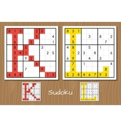 Sudoku set with answers K L letters vector image