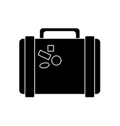 Suitcase travel with stickers pictogram vector