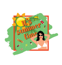 summer time banner with girl vector image