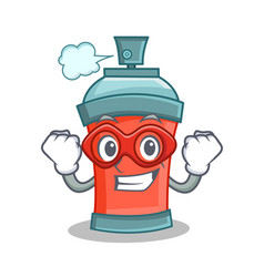 Super hero aerosol spray can character cartoon vector