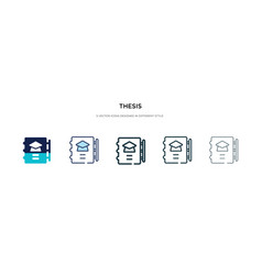 Thesis icon in different style two colored and vector