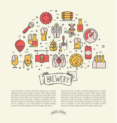 thin line banner concept for beer brewery vector image