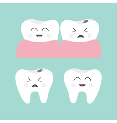 tooth gum icon set healthy smiling crying vector image