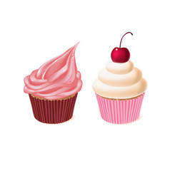 two cupcakes tasty cakes sweet pastry vector image