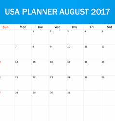 Usa planner blank for august 2017 scheduler agenda vector