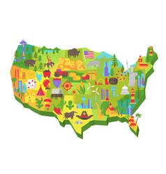 Usa tourist attraction on map vector
