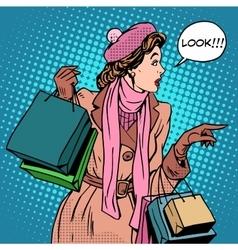 Woman shopping buy discounts look vector