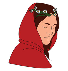 woman with red hood on white background vector image