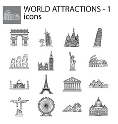 World attractions line icons set signs vector