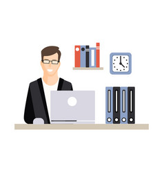 Young businessman character working with laptop at vector