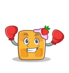 boxing waffle character cartoon design vector image