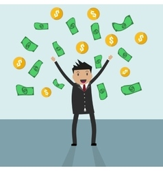 businessman standing under falling raining money vector image