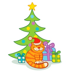 Cat and christmas tree vector image