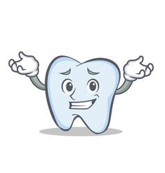 confused face tooth character cartoon style vector image vector image