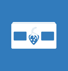 Icon on background videocassette and strawberry vector