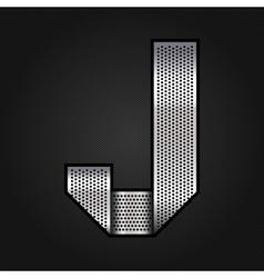 Letter metal chrome ribbon - J vector image vector image