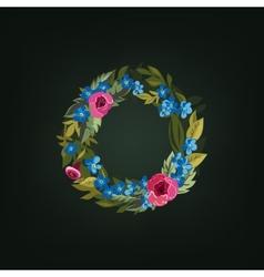 o letter Flower alphabet Colorful font vector image