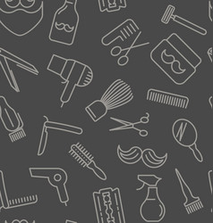 seamless pattern with tools for barber shop vector image