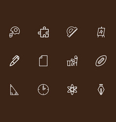 Set of 12 editable education outline icons vector