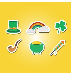 color set with saint patricks day icons vector image