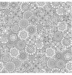 line ornamental flowers pattern vector image vector image