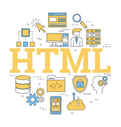 round linear concept of html vector image