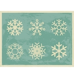 Snowflakes vintage collection on grunge retro vector image