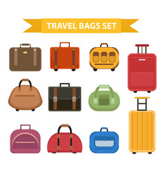 Travel bags icon set flat style isolated on a vector