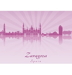 Zaragoza skyline in purple radiant orchid vector image vector image