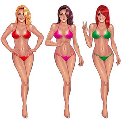 beautiful young women in bikini vector image vector image