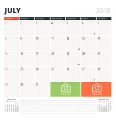 calendar planner for july 2018 design template vector image