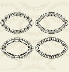 sketch of oval frames henna style vector image vector image