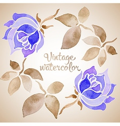 vintage watercolor floral frame vector image vector image