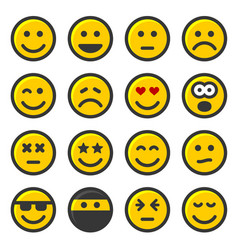 yellow smile icons set on white background vector image