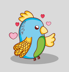 cute lovely parrot doodle cartoon vector image