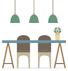 Flat Design Chairs And Table vector image