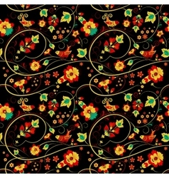 Floral khokhloma seamless pattern with birds vector image vector image