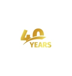 Isolated abstract golden 40th anniversary logo on vector image vector image