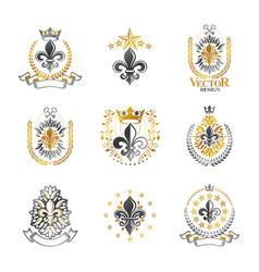 royal symbols lily flowers emblems set heraldic vector image
