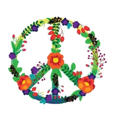 The emblem of the hippie flowers on a white vector