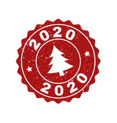 2020 grunge stamp seal with fir-tree vector