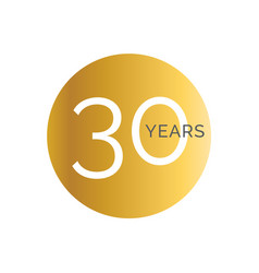 30th anniversary gold banner template thirtieth vector image