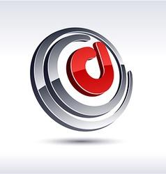 3D D letter icon vector