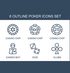 6 poker icons vector