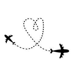 air plane icon set black silhouette shape two vector image