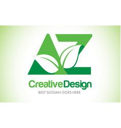 Az green leaf letter design logo eco bio leaf vector