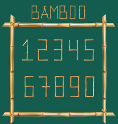 Bamboo numbers made of realistic brown dry bamboo vector