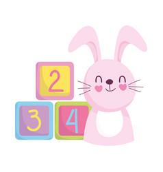 Bashower cute bunny cubes cartoon announce vector