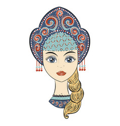 beautiful russian girl in national clothes vector image
