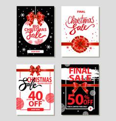 big christmas sale 40 percent off price promo set vector image